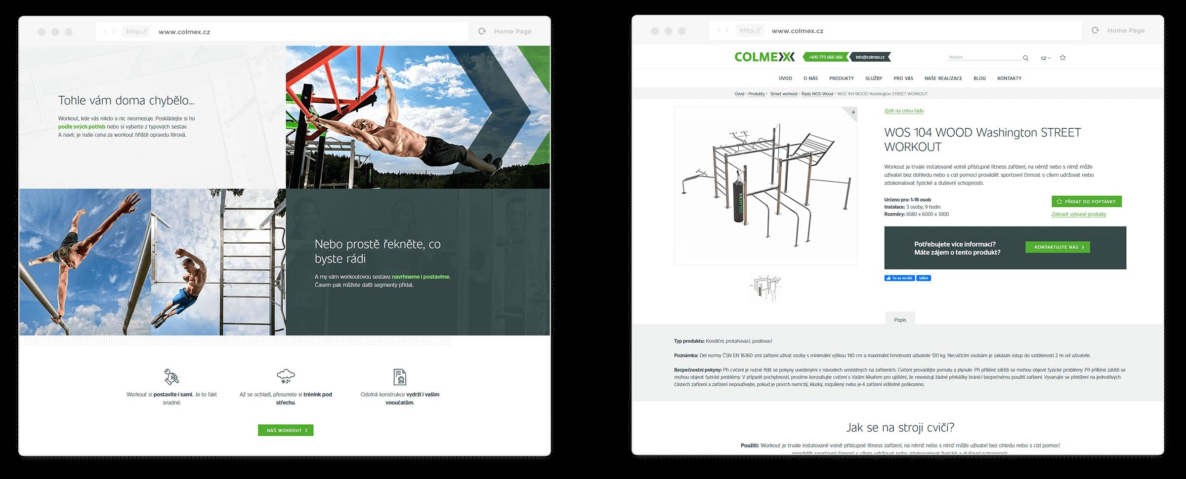 Colmex - náhledy webu