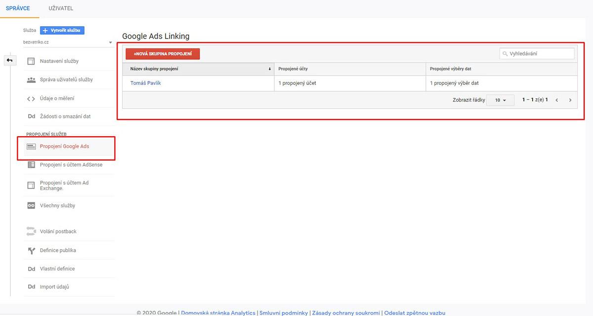 Propojení Google Analytics s Google Ads účtem
