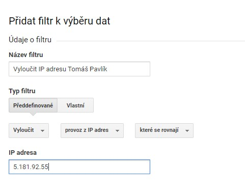 Vyloučení ip adres z Google Analytics