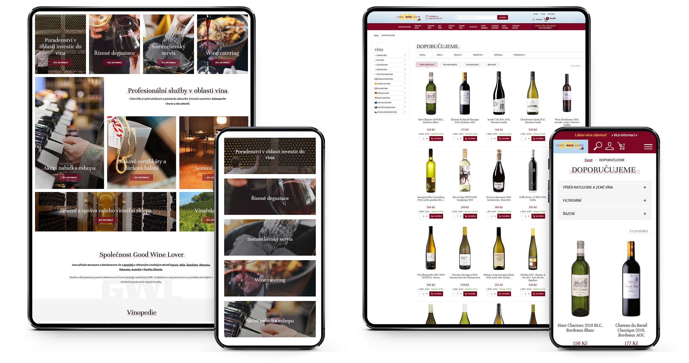 Vinnyshop - ukázky webu