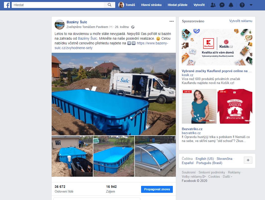 Ukázka reklamního postu pro Facebook klienta Bazény Šulc