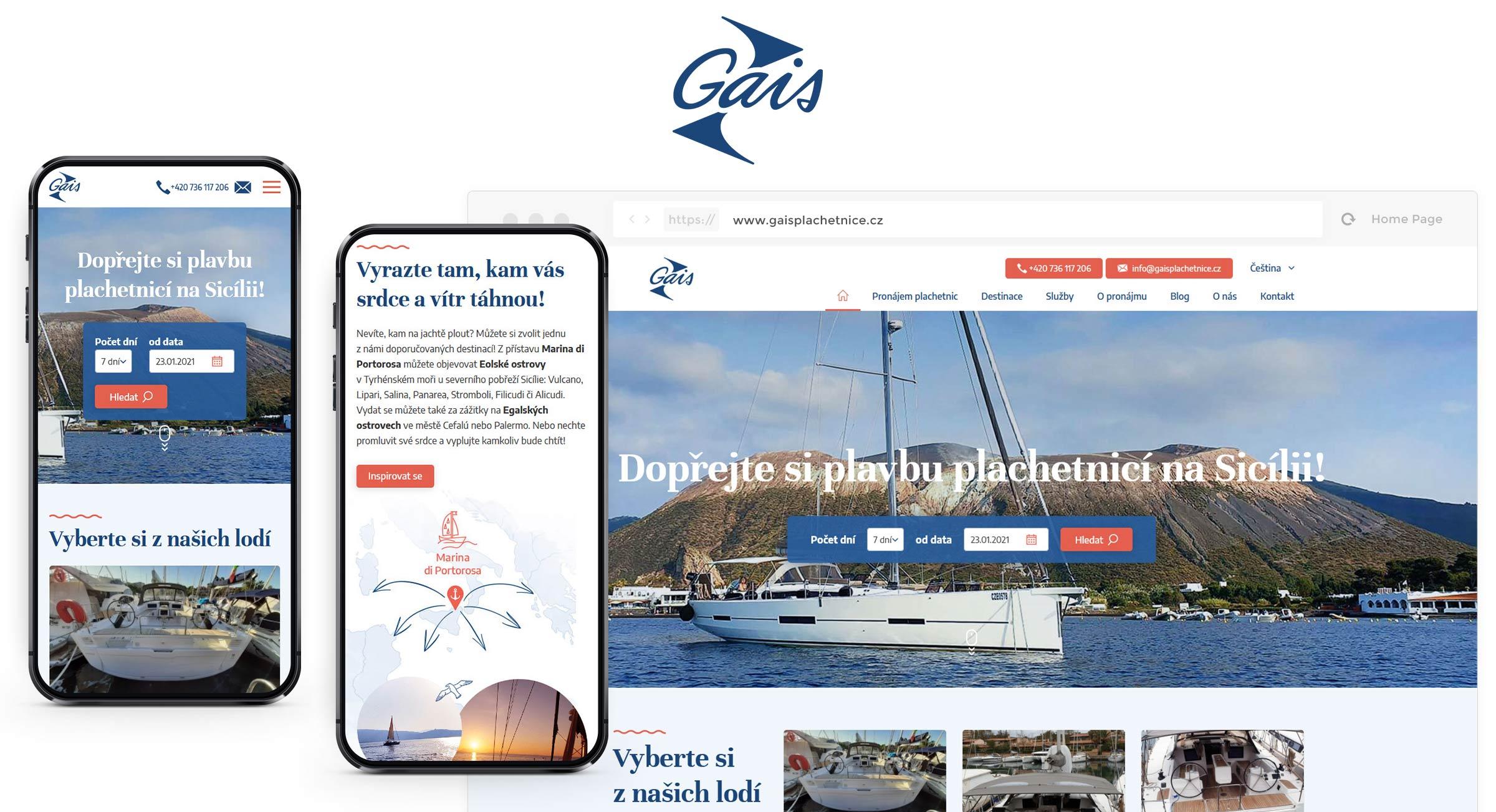 Webové stránky pro pronájem lodí Gais