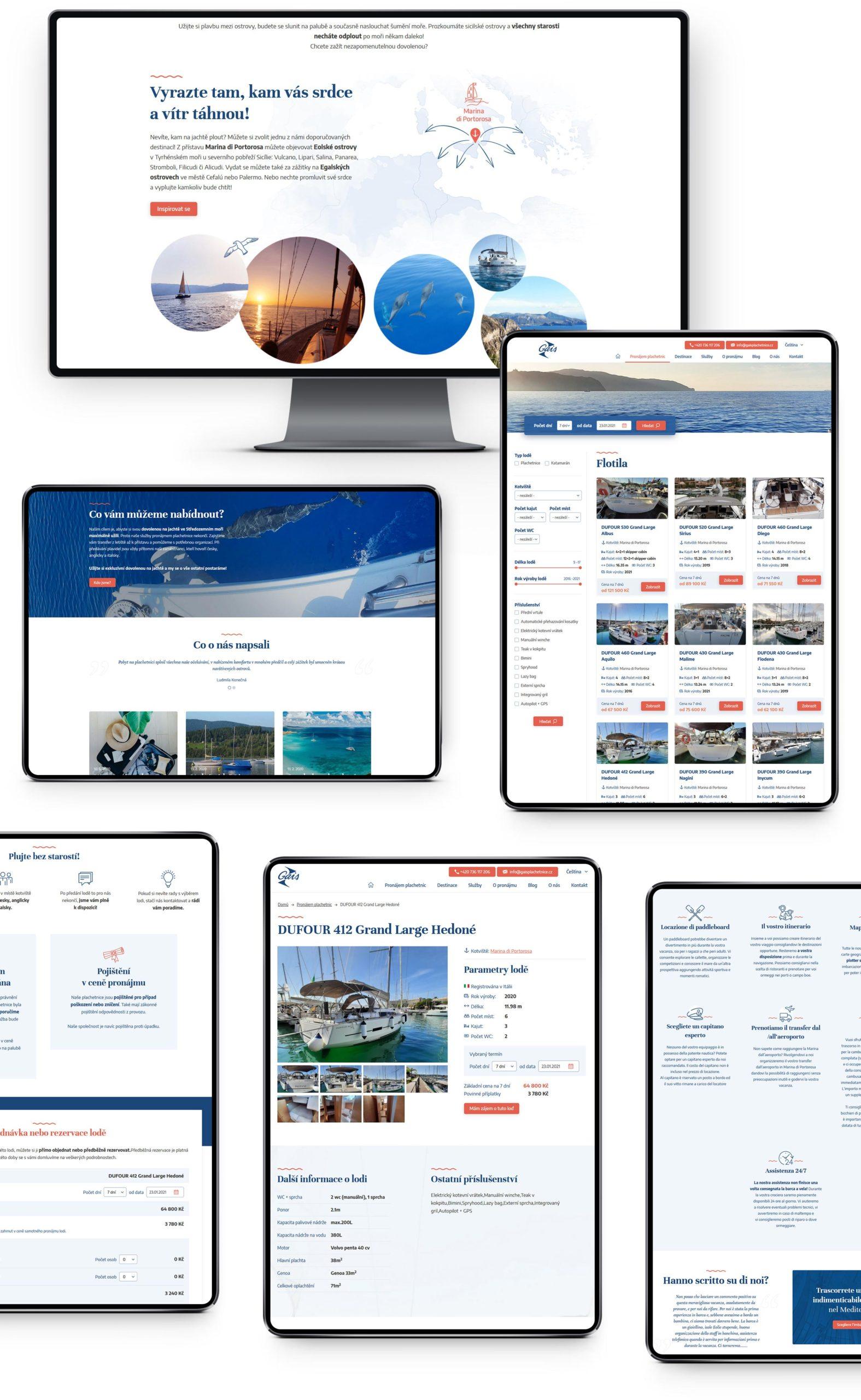 Internetové stránky pro pronájem lodí